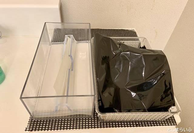 池袋ヤマダ電機 授乳室の手拭きタオルとビニール袋