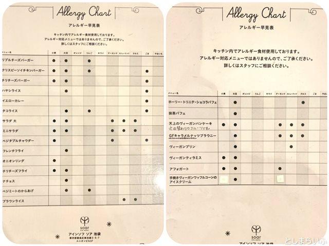 アインソフソア アレルギー対応表