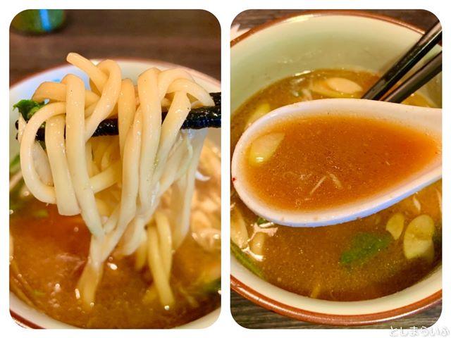池袋 浮浪雲 つけ蕎麦の麺とスープ