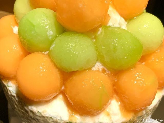 フルーツカフェ池袋果実 かき氷の赤青メロン