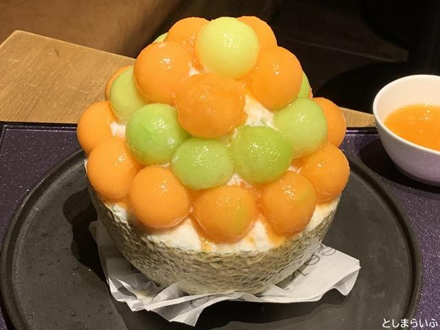 フルーツカフェ池袋果実 赤青メロンミックスかき氷