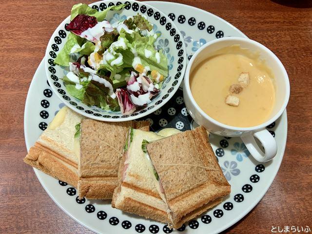 ラ・グラスリィ ハムとチーズのホットサンドセット