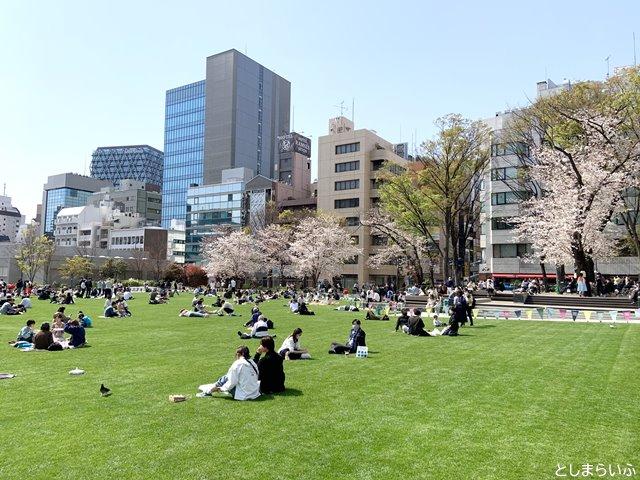 桜と芝生が綺麗な南池袋公園
