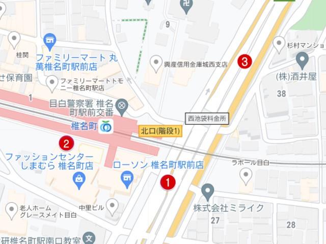 椎名町駅駐輪場マップ
