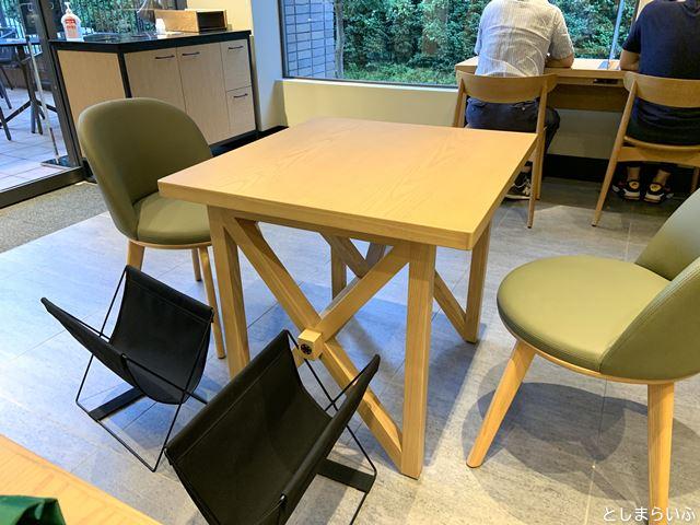 目白のスタバ テーブル席